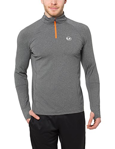 Ultrasport Runflow T-Shirt manches longues Homme, Gris/orange, Small