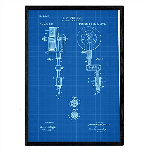 Poster Nacnic patent tattoo machine. Blad met oud ontwerp patent A3-formaat met blauwe achtergrond