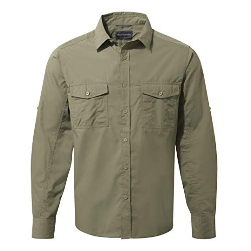 Craghoppers Herren Outdoor Reise Kiwi Langarm Hemd, grün(Pebble),M