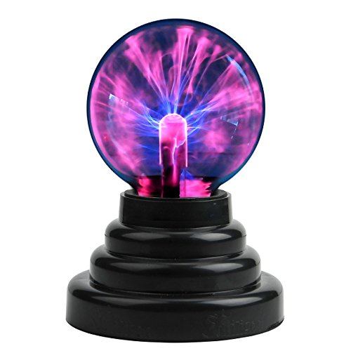 CozyCabin Plasma Ball Light, Thunder Lightning Plug-In Touch Sensitive - USB or Battery Powered For Parties, Decorations, Kids, Bedroom, Home, 3 Inch