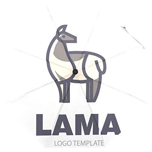 ISAOA Automatischer Reise-Regenschirm, stilvolles Zeichnen von Llama, kompakt, Winddicht