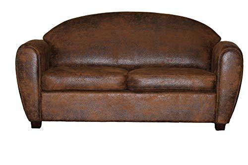 Meubletmoi Slaapbank, 3-zits, comfortabel, bruin antieke look - vintage klassiek - Cuba