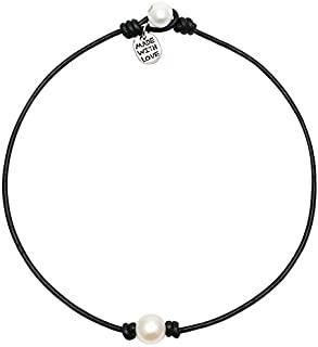 Single Cultured Pearl Chokers Necklaces for Women Black Leather with One Beaded Pearl