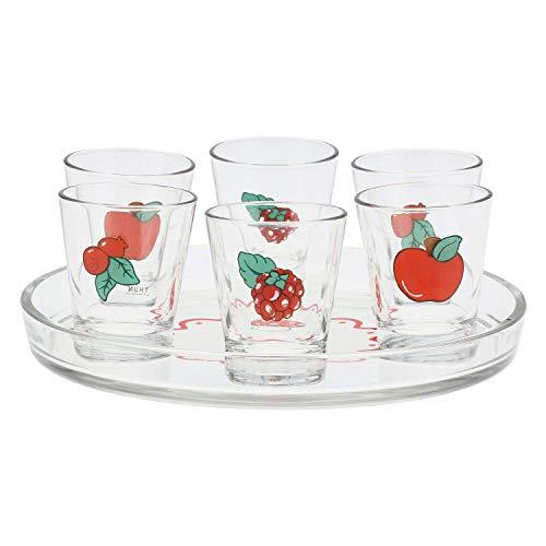 THUN - Set 6 Bicchierini e Vassoio - Accessori Cucina - Linea Frutti Rossi - Vetro - Vassoio Ø 20,5 cm, Bicchiere h 7 cm