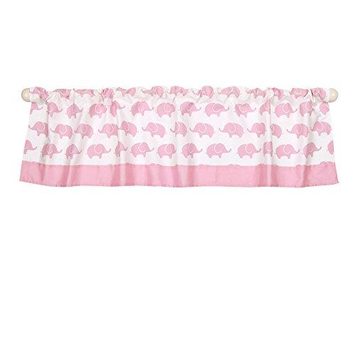 Pink Elephant Print Window Valance by The Peanut Shell - 100% Cotton Sateen