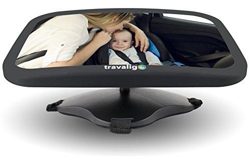Rücksitzspiegel für Babys - bruchsicherer Babyspiegel fürs Auto mit großem Sichtfeld - 360° schwenkbar - Farbe Schwarz - Premium Qualität - Travaligo