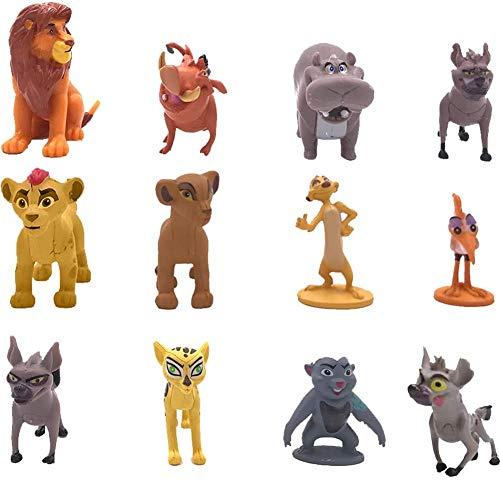 CYSJ 12Pcs Animal Cake Topper León Decoración de Tartas Figuras Decoración para Tarta de cumpleaños de Figuras de Dibujos Animados del Fiesta Suministros Juguete