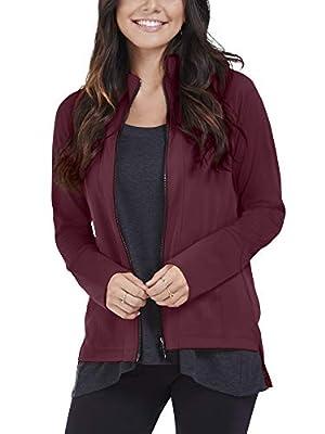 Seek No Further by Fruit of the Loom Women's Long Sleeve Full Zip Raglan Track Jacket, Athletic Maroon, Medium