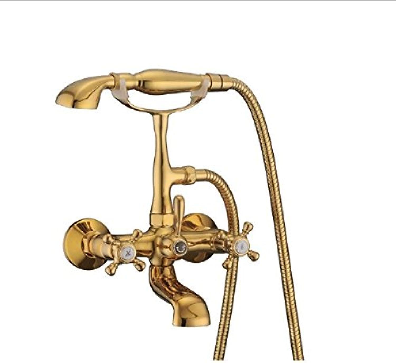 JWLT Eine neue Art von Farbe, Badewanne Armatur, Duschkopf mit Duschkpfen, alle fein Kupfer schwarz Armaturen Dusche, Gold vier Layer VerGoldung
