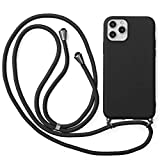 Yoedge Lanyard Case for Samsung Galaxy J5 (2016) 5.2″ Women Floral Crossbody Lanyard Strap Neckstrap Necklace Silicone Case Cover for Samsung J5 2016 Anti-Scratch Shockproof Mobile Phone Cover, Black