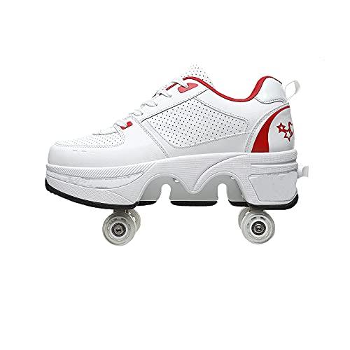 SEJNGF Rollschuhe Damen,Rollschuhe Erwachsene,Rollschuhe Mädchen Verstellbar,Schuhe Mit Rollen,Quad Skate Rollschuhe,Verstellbare Quad rollschuh-Stiefel,2in1 Mehrzweckschuhe Schuhe,O-39