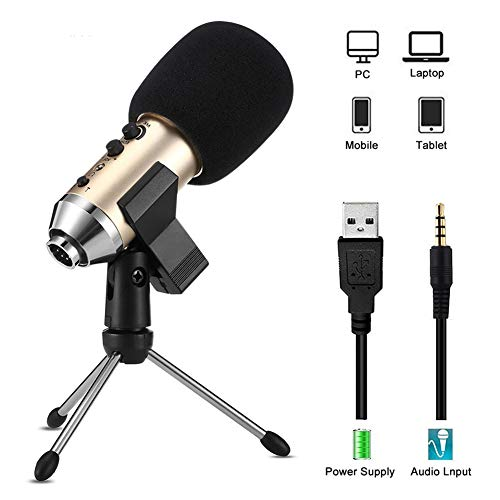 BLKykll Condensatormicrofoon, USB, voor Skype, Youtuber karaoke, gaming opname, professionele geluidschipset, plug & play, desktopstatiefmicrofoon