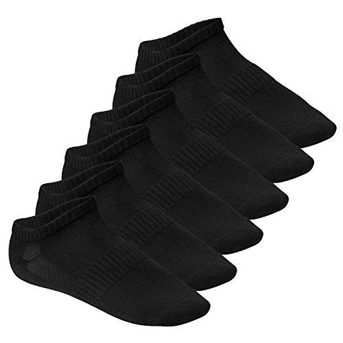 Footstar Herren und Damen Fitness Sneaker Socken (6 Paar), Mesh-Strick, OEKO-TEX - Schwarz 43-46