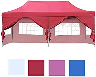 Leisurelife Outdoor Pop-up 10'x20' Canopy Party Tent with 6 Sidewalls - Folding Commercial Gazebo Canopy Tent Red with Wheeled Carry Bag