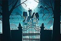 Qinunipoto 背景布 ハロウィン happy halloween 城 丸い月 ファンタジーの背景 ウッズ 夜 写真撮影用 写真 写真背景 人物撮影 撮影用 写真の背景 背景幕 写真ブース撮影 背景ポスター 写真館 ビニール 1.5x1m
