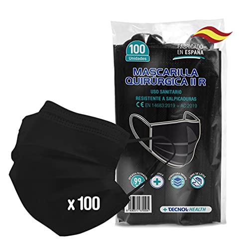 TECNOL Mascarilla Quirúrgica Negra IIR - Fabricación Europea - BFE > 99% - 100 piezas - Sin grafeno - Confortable - Estructura de 3 capas