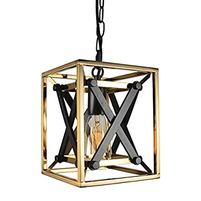 Baiwaiz Gold Kitchen Pendant Light, 1-Light Square Luxury Modern Gold Plated Metal Island Lighting with Black Wood Rustic Industrial Cage Hanging Entry Foyer Light Fixture Edison E26 113