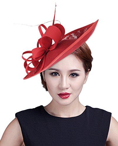 EOZY Damen Fascinator Blumen Braut Kopfschmuck Haar Clip Haarklammer Rot
