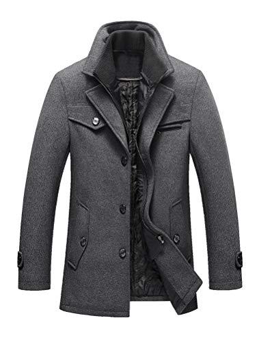 Lavnis Men's Winter Wool Coats Slim Fit Single Breasted Trench Jacket Woolen Pea Coat Gray XL