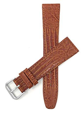 Leder Uhrenarmband 14mm, Hellbrun, dünn, Eidechsenmuster, auch verfügbar in schwarz, braun und blau