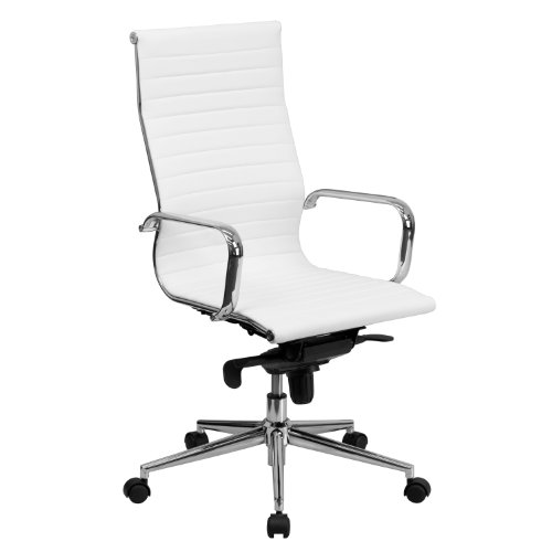 Flash Furniture Mid-Back White Ribbed LeatherSoft Swivel Conference Office Chair with Knee-Tilt Control and Arms