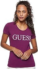 Guess Camiseta Manga Corta Mujer con Logotipo Púrpura