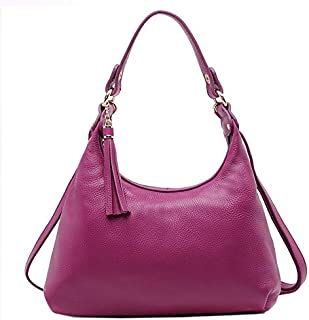 Adebie - 2017 Real Cow Women Genuine Leather Ladies Satchel Handbag Dual Function Hobos Female Shoulder Bag Fashion Big Messenger Bag Purple []