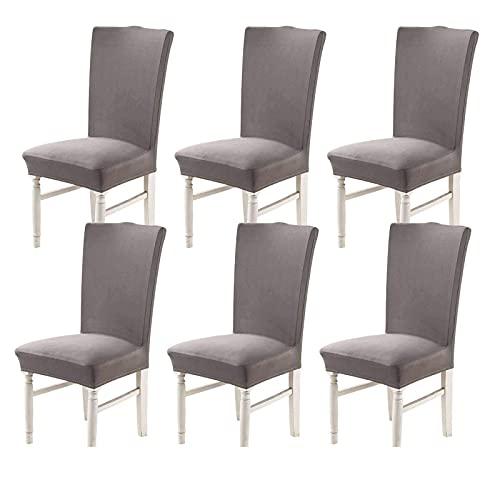Stretch Stuhlhussen, abnehmbare waschbare Stuhlhussen für Esszimmerschutz Universal Stretchy Stuhlhussen für Restaurant Hotel Bankett Dekor Zeremonie-6 Stück-graugra