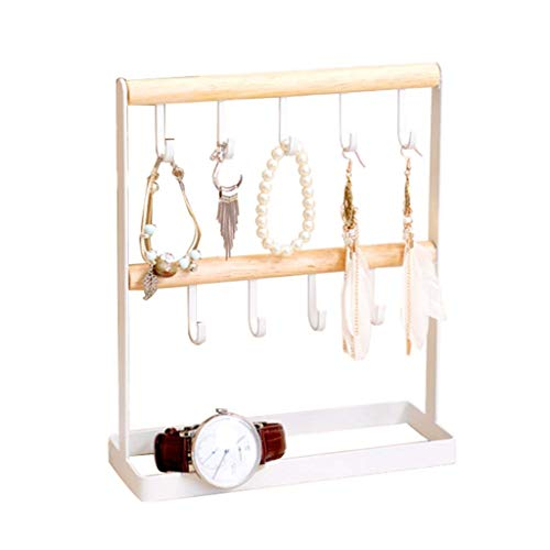 organizador joyas Colgando rack joyas - 2 Nivel de mesa del collar del sostenedor y exhibición de joyas destacan las pulseras de los collares, pendientes, anillos, relojes Organizador de escritorio ex