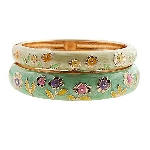 UJOY Cloisonne Couple Colors Bracelets Golden Sunflower Enameled Spring Hinged Cuff Bangles Girls Womens Gifts Jewelry 55C36 Green Yellow