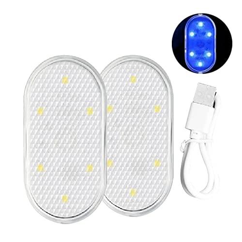 YWLE 2 luces de tira de luces LED interiores para coche, sensor de luz LED interior del coche con cable de carga USB, luces de roca LED para matrícula, mapa interior, luces de tronco de cúpula (azul)