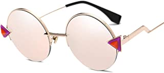 Personality Round Frame Metal Sunglasses UV Protection Ultra Light for Men and Women,C6