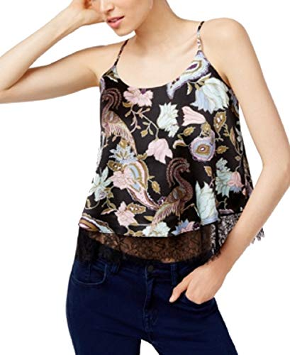 Catherine Malandrino Bailey Silk Lace-Trim Tank Top (Paisely Floral, S)