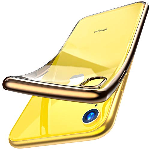 TOZO for iPhone XR 6.1 Inch (2018) Premium Clear Soft TPU Gel Ultra-Thin [Slim Fit] Transparent Flexible Cover for iPhone XR with [Space Gold Plating Edge]
