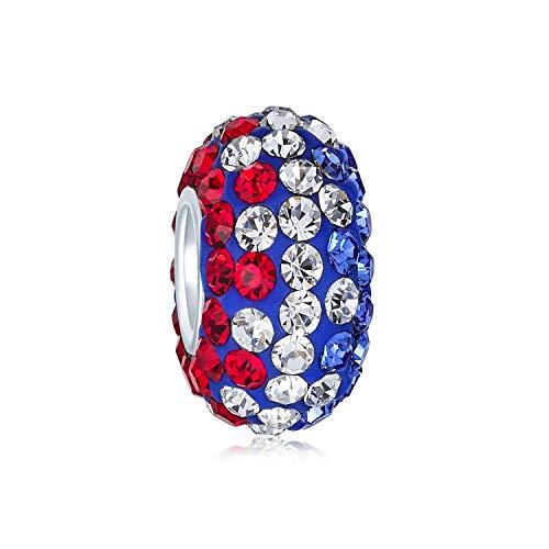 Bling Jewelry Rot Weiß Blau Patriotisch Streifen- Kristall Spacer Perle Core 925 Sterling Silber Passt Europäischen Charm Armband Für Frauen