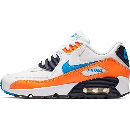 Nike Jungen Air Max 90 Ltr (gs) Leichtathletikschuhe, Mehrfarbig (White/Photo Blue/Total Orange 116), 37.5 EU