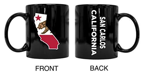 Taza de cerámica negra de recuerdo de San Carlos California, 2 unidades