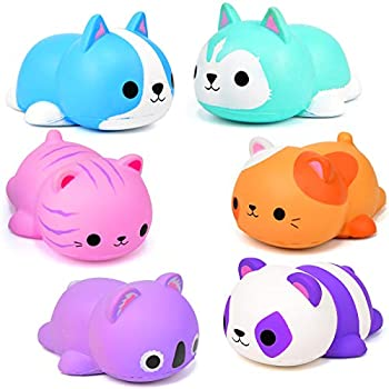 6PCS Jumbo Squishies Slow Rising Squishies Animal Newest Cat Squishy Toys Party Favors Goodies Bags Class Prize Scented & Kawaii Squishys Stress Relief Toys for Adults
