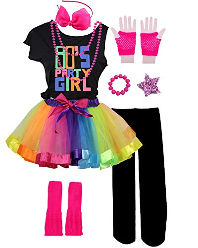Kids 80s Party Girl Pop Rock Star Child Costume Accessories Fancy Outfits