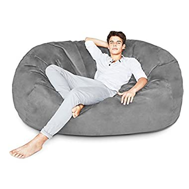 Lumaland Luxury 6-Foot Bean Bag Chair with Microsuede Cover Dark Grey, Machine Washable Big Size Sofa and Giant Lounger Furniture for Kids, Teens and Adults