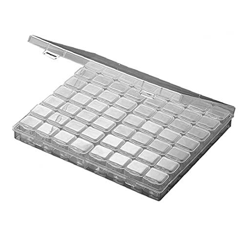 Joyería de la caja de almacenaje Organizador del diamante de 56 perlas separadas rejillas de plástico transparente para el arte de DIY