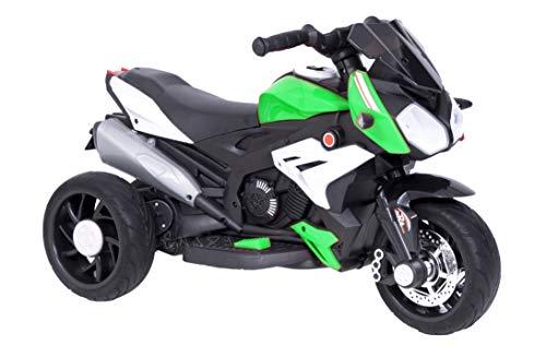 Moto Motocicletta Elettrica per Bambini 12V con luci LED e Suoni (Verde)
