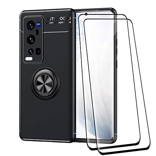 ALAMO Silikon Hülle für VIVO X60 Pro Plus, StoßFest Handyhülle mit Ring Halterung [ mit 2 Stück Panzerglas Bildschirmschutzfolie ] - Schwarz