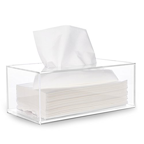 HBlife Facial Tissue Dispenser Box Cover Holder Clear Acrylic Rectangle Napkin Organizer for...