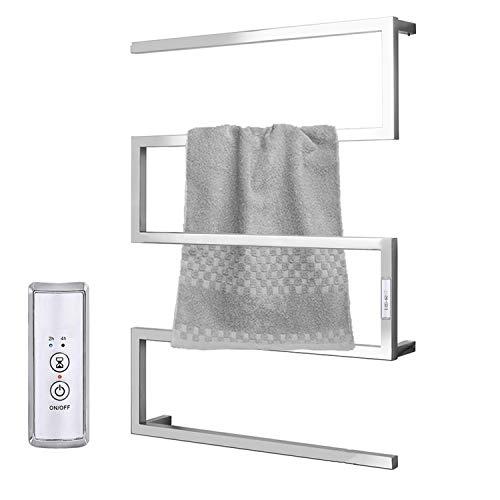 SELMAL Toallero eléctrico calefactado, calentador termostático para toallas montado en la pared con temporizador de 2/4h, radiador de toalla cromado de acero inoxidable 304, 600 x 800 x 120 mm