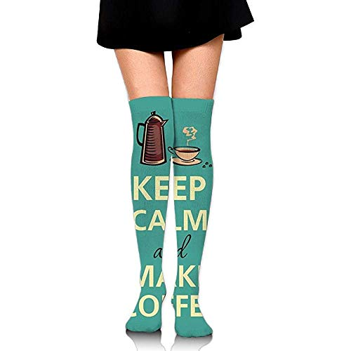 Yuanmeiju Socks-Women'S Over Knee High Stockings 60 Cm Keep Calm And Make Coffee Long Tube Socks