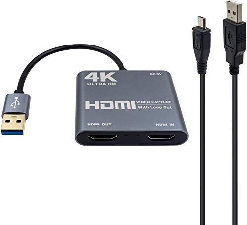 Tarjeta de captura de video HDMI con salida de bucle, Adaptador convertidor de tarjeta de captura de video HDMI a USB 3.0 4K HD 1080P para computadora portátil Proyector HDTV Compatible con Windows XP