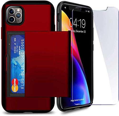 SUPBEC Compatible for iPhone 11 Pro Max Case with Card Holder and[ Screen Protector Tempered Glass x2Pcs][ Protective Series] Shockproof Silicone for iPhone 11 ProMax Wallet Case Cover-Red-6.5""