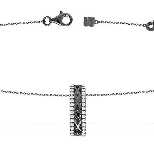 apm Monaco Damen-Halskette Sterling Silber geschwärzt Zirkonias 45 cm AP9455XBR