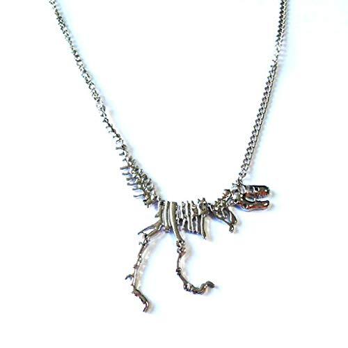 Jingmeizi - Collar largo sexy con colgante de dinosaurio gótico tiranosaurio Rex con diseño de esqueleto y hueso de dragón